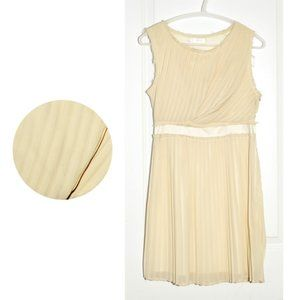 MM Couture by Miss Me Cream Pleated A-Line Dress